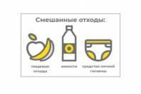 "Наклейка на урну ""Смешанные отходы"" 1 МО 140х90мм"