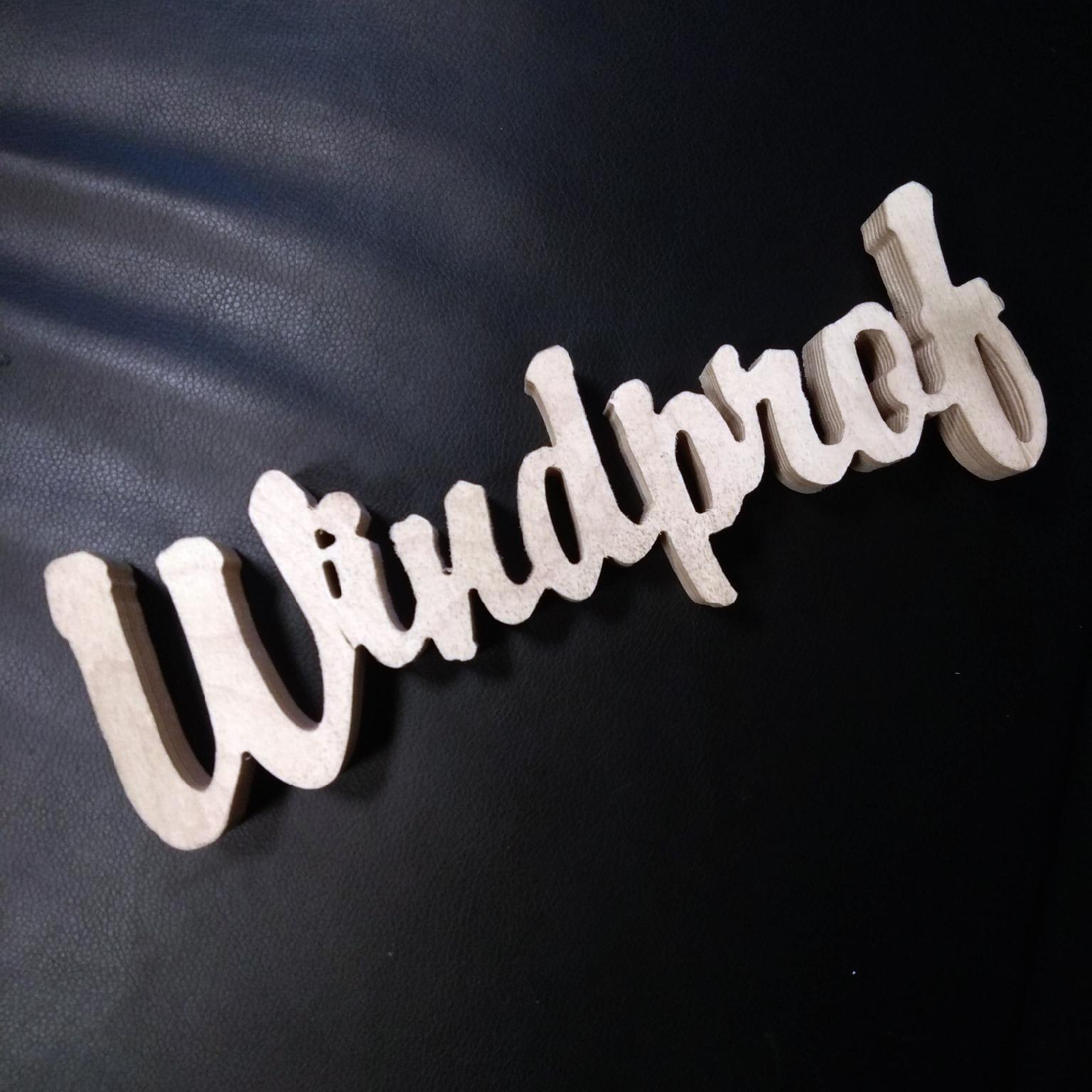 Хештег Windprof из фанеры