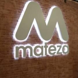 Объемный логотип с контражурной подсветкой Mateza