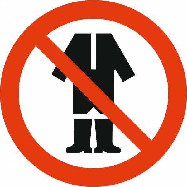 Знак 'Запрещается находиться в помещении в спецодежде'  200х200 мм P11