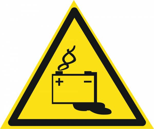 Знак 'Осторожно. Аккумуляторные батареи'  200х200х200 мм W03