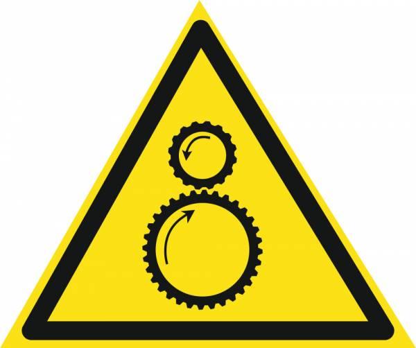 Знак 'Осторожно. возможно затягивание между вращающимися элементами'  200х200х200 мм W13