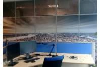 оклейка офисных перегородок, брендирование павильонов БЦ «Krylatsky Hills»