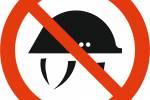 Знак 'Запрещается снимать каску' 150х150 мм, P01