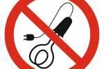Знак 'Запрещается применять нагревательные электроприборы' (ГОСТ Р 12.4.026-2001) 200х200 мм P15
