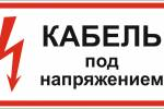 Знак 'кабель под напряжением' (ГОСТ Р 12.4.026-2001) 300х150 мм S14