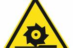 Знак 'Осторожно. режущие валы'  200х200х200 мм W05