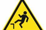 Знак 'Осторожно. возможно падение с высоты'  200х200х200 мм W06