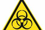 Знак 'Осторожно. биологическая опасность'  200х200х200 мм W07